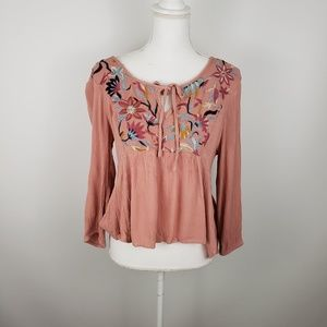 Bleuh Ciel embroidered top shirt boho swing Lg tie